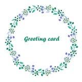 Circunde o quadro, grinalda de bagas e das folhas azuis e verdes Foto de Stock Royalty Free