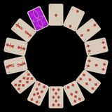 Circunde os cartões de jogo dos diams da forma isolados no preto Foto de Stock