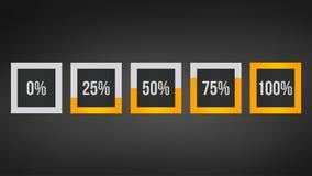 circunde a porcentagem, análise de desempenho em percentagem, o número quadrado 0,25,50,75,100, infographic isolado no fundo pret Foto de Stock Royalty Free