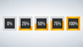 circunde a porcentagem, análise de desempenho em percentagem, o número quadrado 0,25,50,75,100, infographic isolado no fundo pret Fotos de Stock Royalty Free