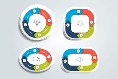 Circunde, redondo dividido em setas de quatro porções Molde, esquema, diagrama, carta, gráfico, apresentação Imagem de Stock