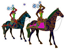 Circus. Ethnic abstract people sit on the back of horses on a white background Stock Images