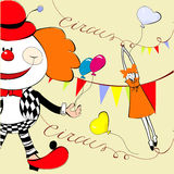 Circus. With happy clown. Universal template for greeting card, web page, background Stock Photo
