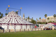 Circus. A circus tent from the outside. Barcelona, Spain Royalty Free Stock Photo