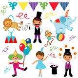 Circus. A vector illustration of cute circus icons Royalty Free Stock Photo