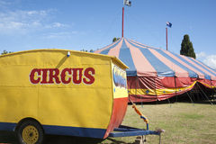 Circus. Tent and caravan Royalty Free Stock Images
