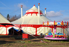 Circus. Tents in Prague with children carousel Royalty Free Stock Image