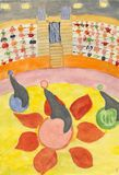 Circus. Watercolour hand drawn picture - children in the circus Royalty Free Stock Photo