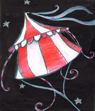 Circus. Illustration of a flying tent in the night. Watercolors and pastels Stock Photo