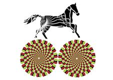Circus. Patterned horse runs in a circle, creating the effect of motion royalty free illustration