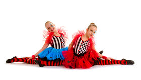 Circus Acrobat Dance Children. Two Circus Acrobat Dance Children sit in Splits stock photos