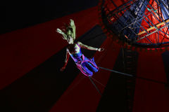 Circus acrobat during the performance Royalty Free Stock Photography