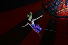 Circus acrobat during the performance Stock Image