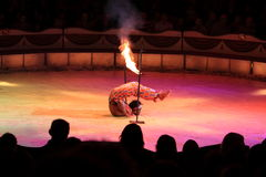 Circus act with fire stock image