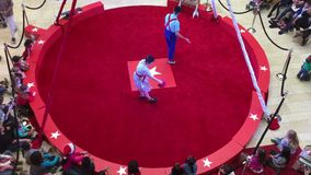 Circus act  in red ring video stock footage