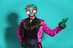 Circus actor in zombie suit posing on studio Royalty Free Stock Photos