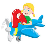 cartoon girl on a plane Stock Photo