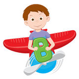 cartoon boy on a plane royalty free illustration