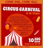 Circus advertising poster. Travelling circus carnival event advertising games prizes and exciting clown balloons performance colorful poster design vector Royalty Free Stock Photos