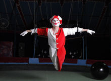 Circus air acrobat. On cord. Photo stock images