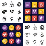 Circus All in One Icons Black & White Color Flat Design Freehand Set Stock Photos