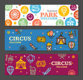 Circus Amusement Park Banner Card Tickets. Vector Royalty Free Stock Image