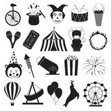Circus and Amusement Park Icons Set. Funny items of circus and amusement park in black and white Stock Photo