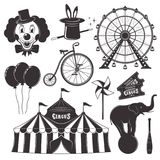 Circus and amusement park vector black objects. Circus and amusement park with ferris wheel set of vector black objects, silhouettes, icons and design elements Stock Photos