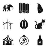 Circus animal icons set, simple style. Circus animal icons set. Simple set of 9 circus animal vector icons for web isolated on white background Royalty Free Stock Photography