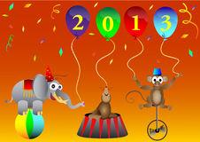 Circus animal New 2013 Year balloons party decorat Stock Photos