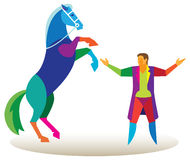 Circus animal trainer performs on stage with a horse Stock Photos
