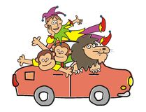 Circus. Animals from the circus going on a trip. Leo, monkeys and clown. Vector icon Royalty Free Stock Photo