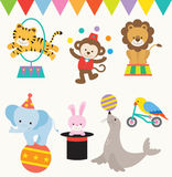 Circus Animals. Illustrations of animals perform in a circus Royalty Free Stock Photo