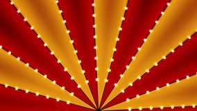 Circus animated rotation looped background of red and gold lines stripe with star constellations light bulbs tinsel. Retro motion