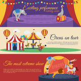 Circus Announcements Horizontal Banners Set Royalty Free Stock Image