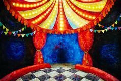 Circus arena watercolor illustration. Empty circus arena watercolor illustration in bright colors Stock Photography