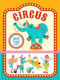 Poster of a circus show. Vector illustration. Circus artists and trained animals. Circus artist. Circus animals. Poster of a circus show. Vector clipart. An Royalty Free Stock Images