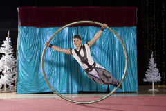 Circus artist in a Cyr Wheel Royalty Free Stock Image