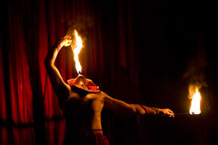 Circus artist wth fire Stock Image