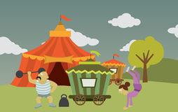 Circus with Artists. (funny vector graphics Stock Photo