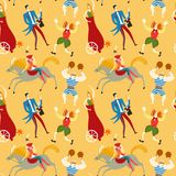 Circus artists cartoon seamless pattern. Circus performance decorative seamless pattern with cute hand drawn Royalty Free Stock Images