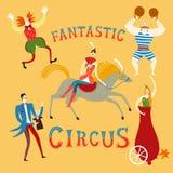 Circus artists cartoon set. Circus performance decorative illustration with cute hand drawn Stock Photos