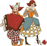 Circus artists. Clown with acordeon and  street singer. vector illustration Royalty Free Stock Images
