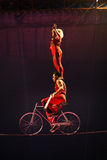 Circus artists on high wire. Circus artists with man riding bicycle on high wire and woman standing on his shoulders, dark background Stock Photo