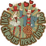 Circus artists. Love-couple of circus artists Stock Image