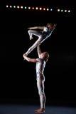 Circus artists perform different tricks. Stock Photo