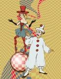 Circus artists. Sad clown and girl-juggler. vector illustration Royalty Free Stock Photos