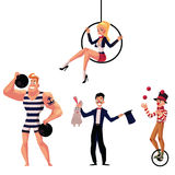 Circus artists - strongman, illusionist, aerial gymnast and juggler Royalty Free Stock Image