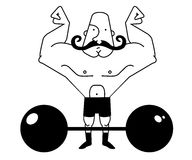 Circus athlete bold. Huge, strong, bald circus athlete with dark twirled mustaches showing of his strength. Contour lines vector illustration isolated on white Stock Photos