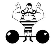 Circus athlete. Contour. Huge, strong circus athlete with dark twirled mustaches showing of his strength. Black and white illustration  on white Stock Image